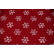 Cotton 100% large snowflakes on a bordeaux background
