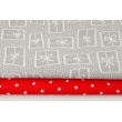 Cotton 100% gifts on a light gray dotted background
