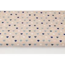 Bawełna 100% małe serduszka na beżowym, lnianym tle (niebieski)