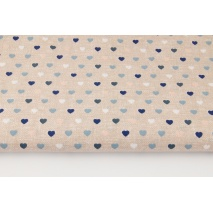 Cotton 100% small hearts on a beige, linen background (blue)
