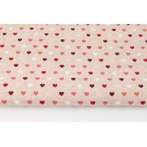 Bawełna 100% małe serduszka na beżowym, lnianym tle (czerwień)