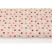 Cotton 100% small hearts on a beige, linen background (red)