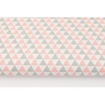 Bawełna 100% małe trójkąty łososiowo-szare