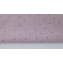 Bawełna 100% szare gwiazdki na brudnym wrzosie