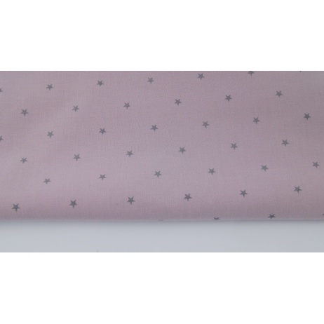 Cotton 100% silver stars on a violet pink background