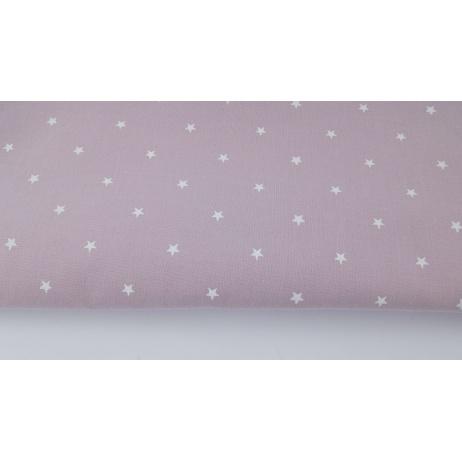 Bawełna 100% białe gwiazdki na brudnym wrzosie
