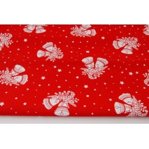Cotton 100% white bells on a red background in stars