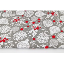 Cotton 100% white cones, Christmas balls on a gray background