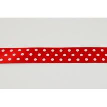 Tasiemka, wstążka 19mm czerwona w kropki