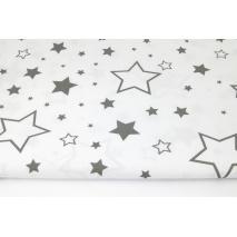 Bawełna 100% gwiazdki XL ciemnoszare na białym tle