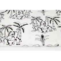 Cotton 100% animals under palm trees on a white background