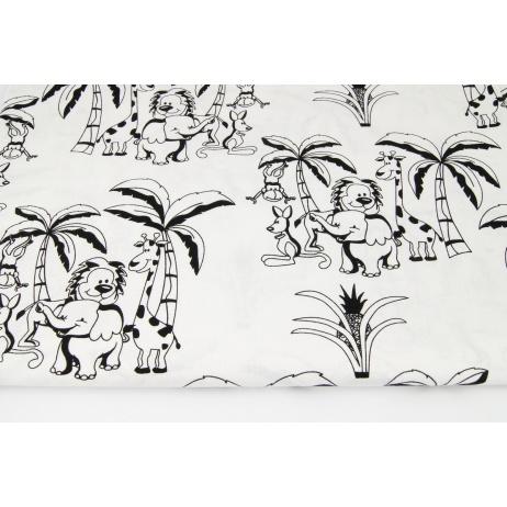 Bawełna 100% zwierzęta pod palmami na białym tle