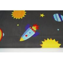 Bawełna 100% statki kosmiczne, planety na grafitowym tle