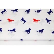 Bawełna 100% konie granatowo-czerwone na białym tle