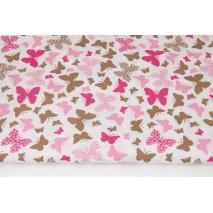 Bawełna 100% różowo-beżowe motylki na białym tle
