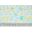 Cotton 100% turquoise-green butterflies on a white background
