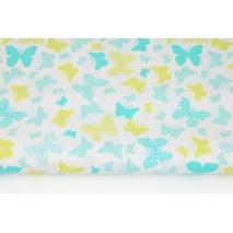 Bawełna 100% turkusowo-zielone motylki na białym tle