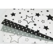 Bawełna 100% gwiazdki XL czarne na białym tle