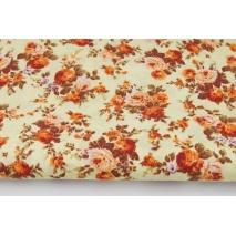 Bawełna 100% jesienne bukiety róż na jasnożółtym tle