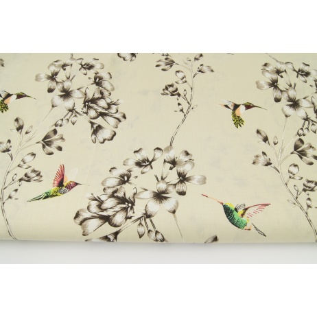 Bawełna 100% kolibry, kwiaty na beżowym tle