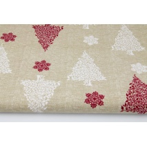 Cotton 100% white, bordeaux Christmas trees on a linen background