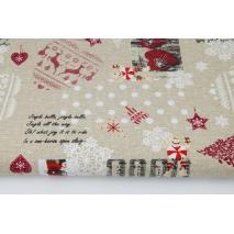 Bawełna 100% świąteczne motywy na lnianym tle