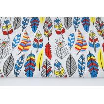 Bawełna 100% kolorowe indiańskie piórka na białym tle
