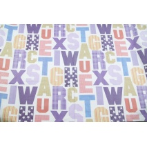 Cotton 100% large letters violet-beige on a white background