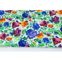 Cotton 100% colorful flowers, watercolor