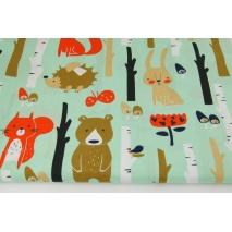 Bawełna 100% leśne zwierzęta na miętowym (2) tle