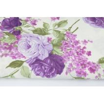 Bawełna 100% fioletowe róże, kwiaty bzu na kremowym tle