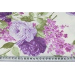 Cotton 100% purple roses, lilac flowers on a cream background