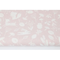 Cotton 100% little forest animals on a powder pink background