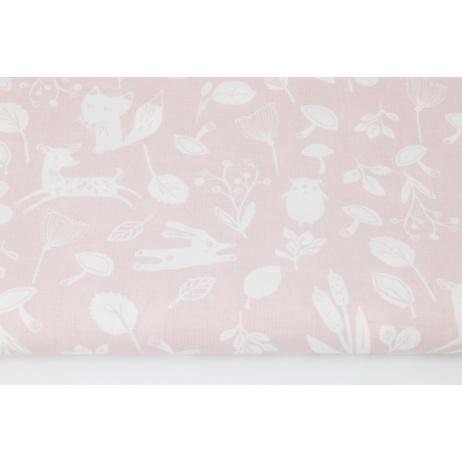 Cotton 100% little forest animals on a powder pink background