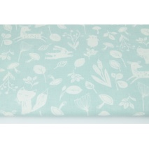 Cotton 100% little forest animals on a powder mint background