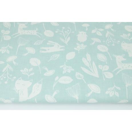 Cotton 100% little forest animals on a powder mint background