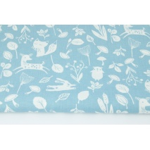 Cotton 100% little forest animals on a blue background
