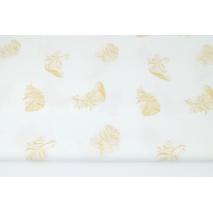 Bawełna 100% złote piórka na białym tle