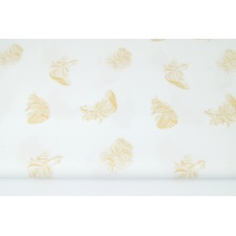Cotton 100% golden feathers on a white background