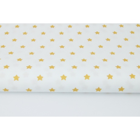 Cotton 100% little golden stars on a white background