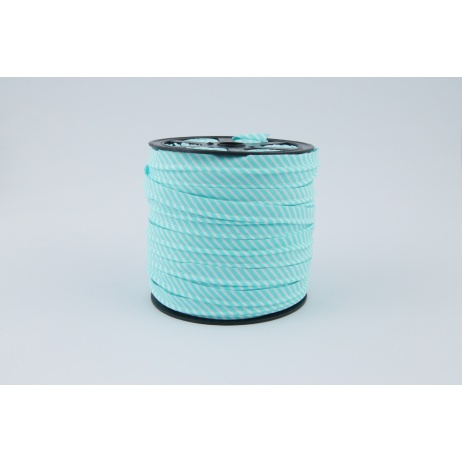Cotton edging ribbon 2mm turquoise stripes
