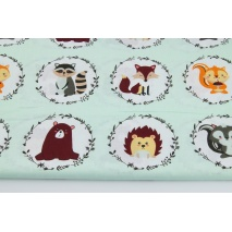 Cotton 100% forest animals in circles on a light mint background