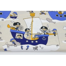 Cotton 100% pirate ships on a beige background