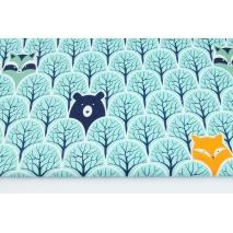 Bawełna 100% zwierzęta w turkusowym lesie