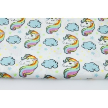 Cotton 100% rainbow unicorns on a white background