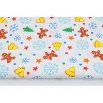 Cotton 100% colorful gingerbread, bells, snowflakes on a white background