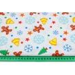 Bawełna 100% kolorowe pierniczki, dzwonki, śnieżynki na białym tle