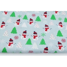 Cotton 100% snowmans, green Christmas trees on an ice blue background