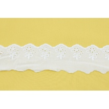 Koronka bawełniana 55mm, biała, haft angielski