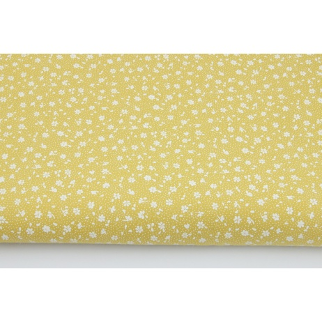 Cotton 100% white meadow on a mustard background, small flowers